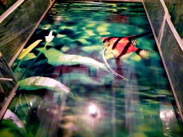 Наливной пол с рыбами