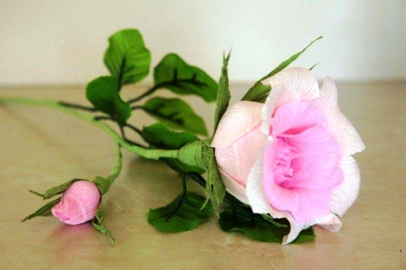 Роза из гофрированной бумаги мастер класс с пошаговым фото