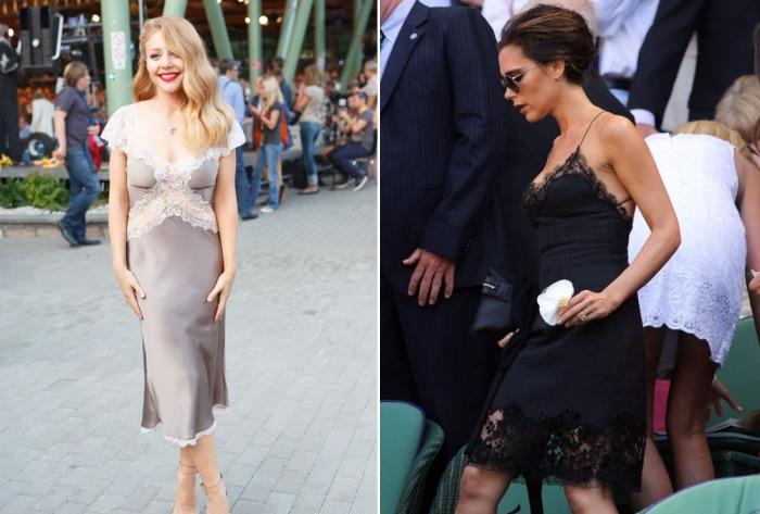 Тина Кароль и Виктория Бекхэм в оригинальных платьях-комбинациях.