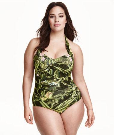 Модные слитные купальники: стильно и сексуально: Ещё один прекрасный вариант купальника с цветочным принтом для обладательниц пышных форм.