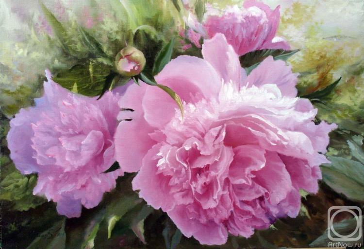 Купить репродукцию картины Розовые и белые цветы пионов в
