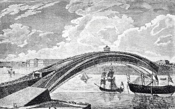 Знаменитый однопролетный мост через Неву — как он мог бы выглядеть, если бы был построен. Его расчет Кулибин выполнял на моделях, в том числе в масштабе 1:10.