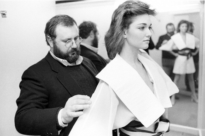 Жанфранко Ферре с моделью перед показом мод, 1982г.| fondazionegianfrancoferre.com.