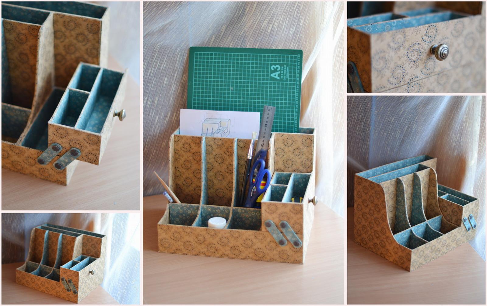 Как сделать из коробки органайзер для канцелярии