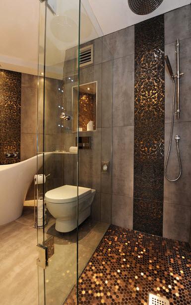 Современная ванная комната дизайн с душевой кабиной