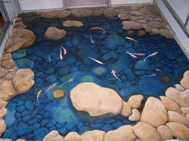 Наливной пол с маленькими рыбами на рисунке