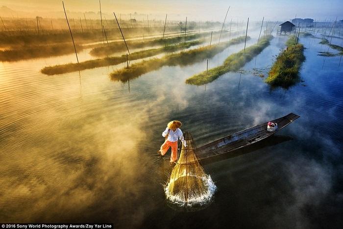 Рыбаки народности инта знамениты своим особым, «гимнастическим», стилем гребли: они управляют плоскодонными лодками, стоя на корме на одной ноге и отталкиваясь веслом, привязанным ко второй ноге. Фотограф Zay Yar.