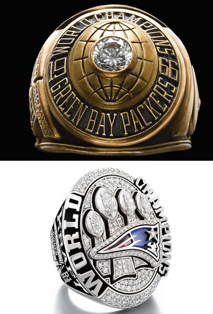 9. These rings are given to the winners of the Super Bowl American Football USA.  The top - from the very first series.  Bottom - from the last, in 2015 in the world, people, photos
