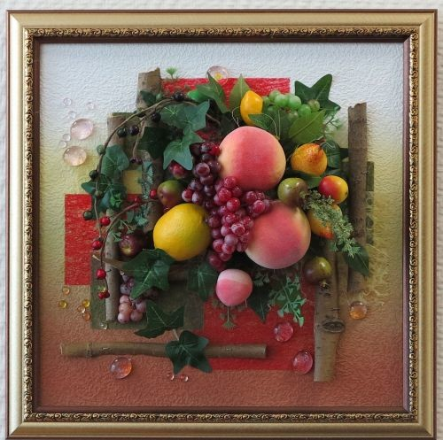 Картины с муляжами фруктов своими руками