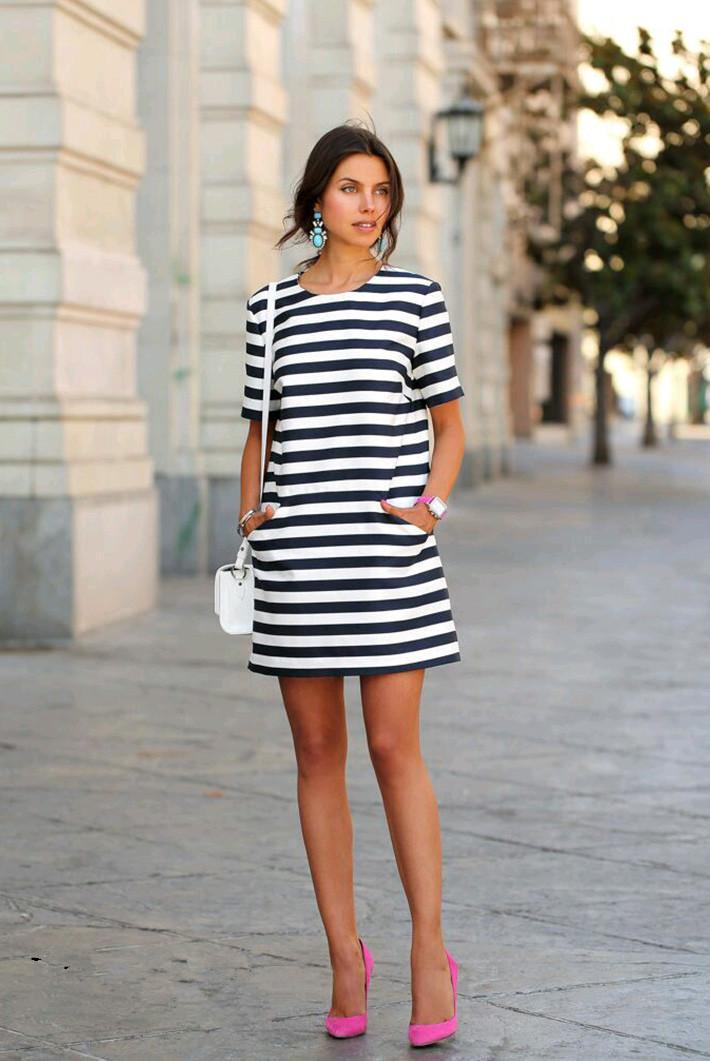 Платье прямое в полоску