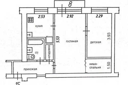 Перепланировка и дизайн двухкомнатной квартиры в хрущевке