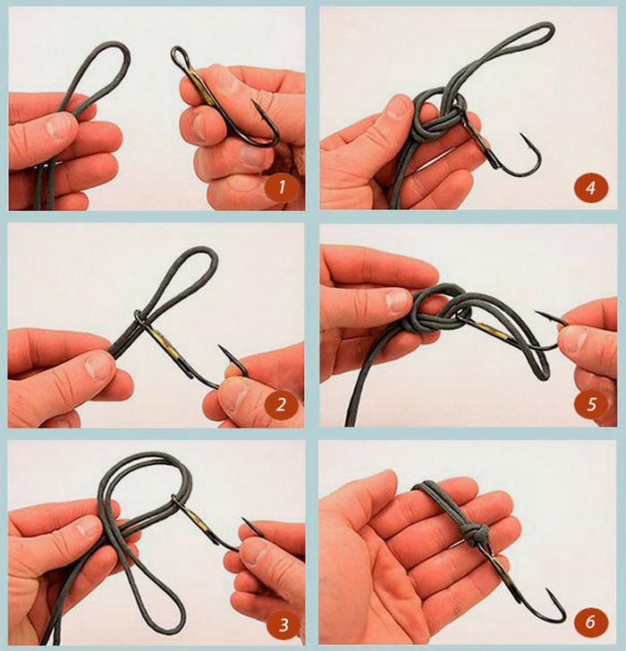 привязка рыболовного крючка