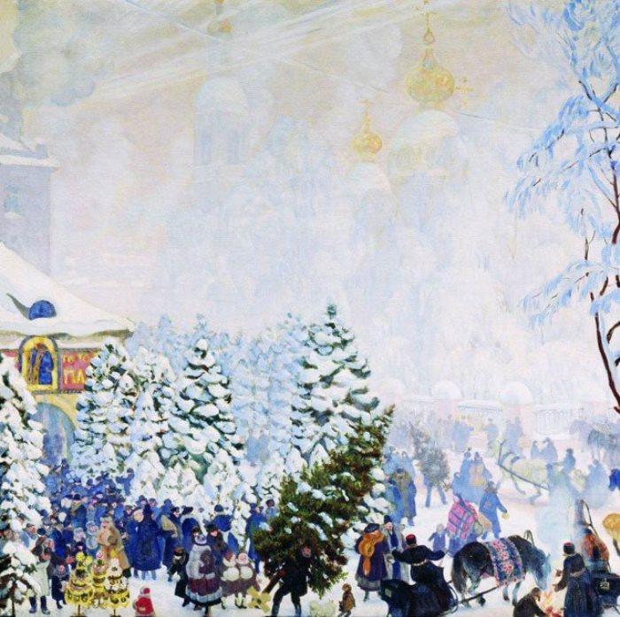 Б. Кустодиев. Елочный торг, 1918