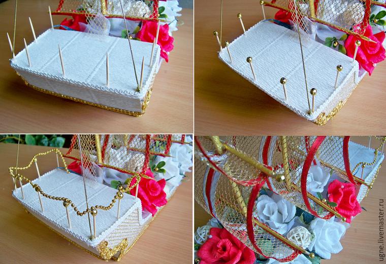 Корабль свадебный из конфет своими руками 32