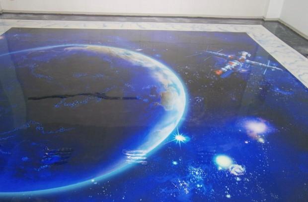 Наливной пол с космическим рисунком