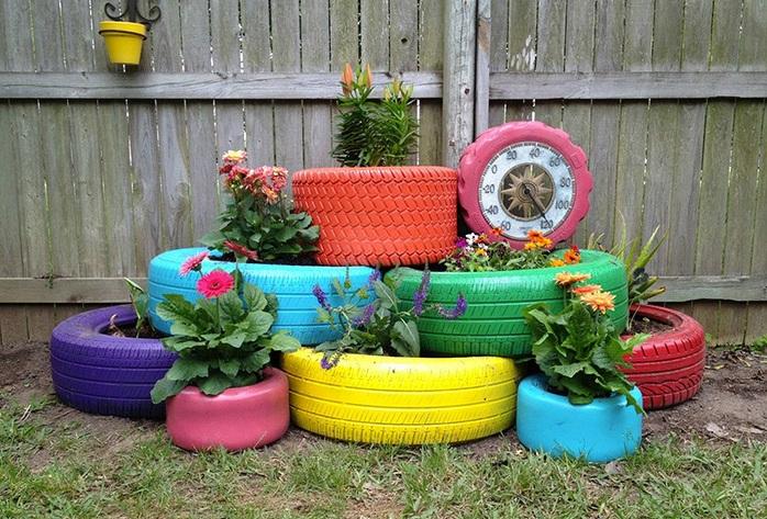 Декор для сада из покрышек своими руками 9