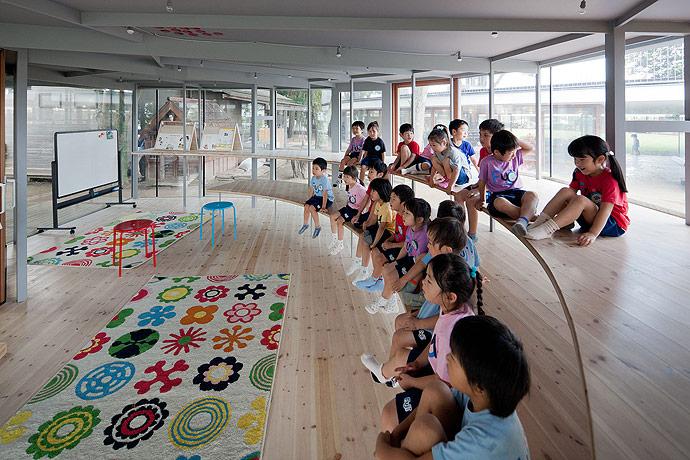 Креативный павильон для японского детского сада Фудзи. Фото