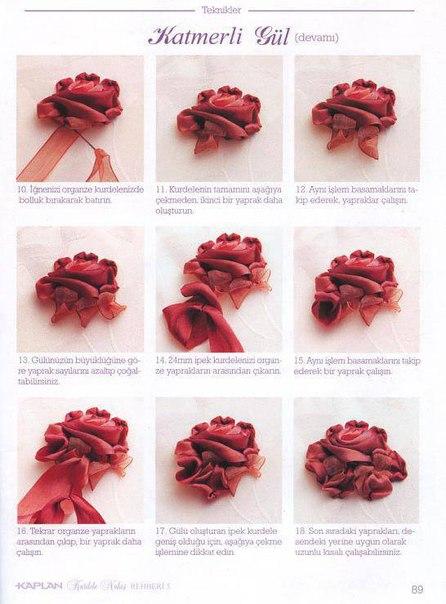 вышивка объемная цветов французским узелком потуже схемы