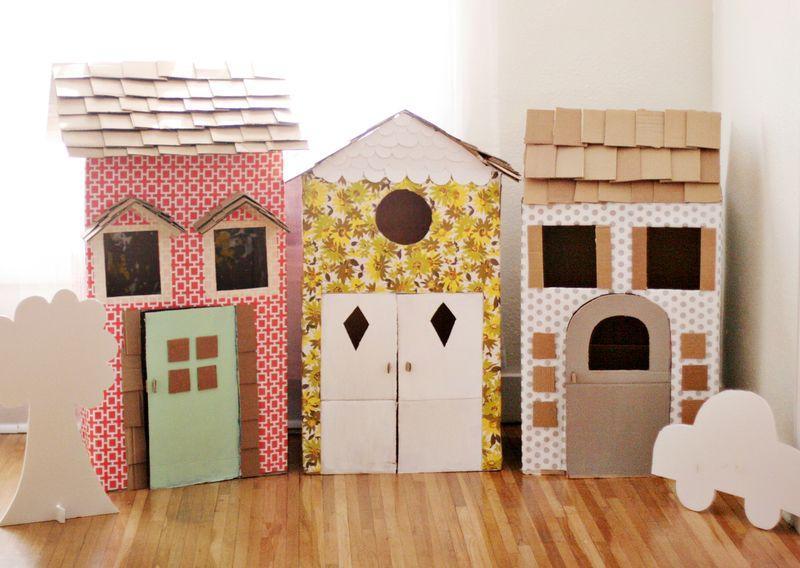 Детские домики из картонных коробок своими руками 36