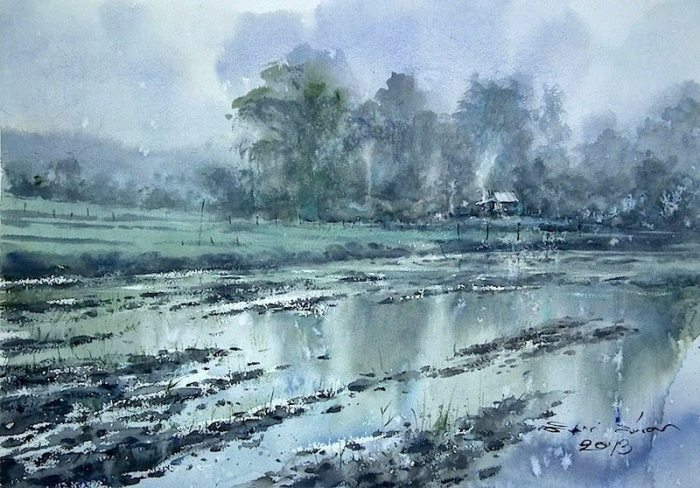 После дождя. Акварельная живопись. Таиландский художник Дирек Кингнок (Direk Kingnok).