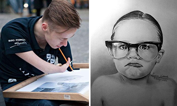 Художник без рук рисует прекрасные портреты.