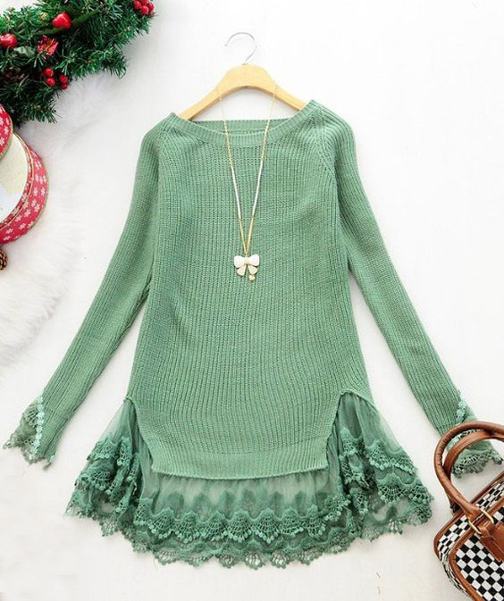 Green long sleeve contrast lace pullovers sweater data-verified=