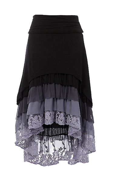 Ruffle Hi-Low skirt High-low hem layered ruffle skirt with fold over waist band. Chic: