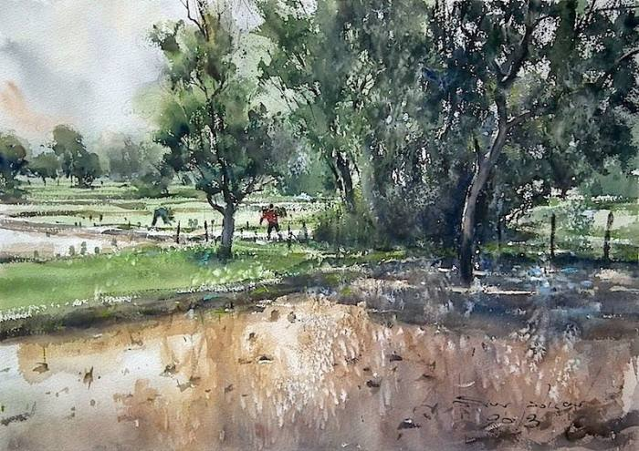 Пейзаж. Акварельная живопись. Таиландский художник Дирек Кингнок (Direk Kingnok).