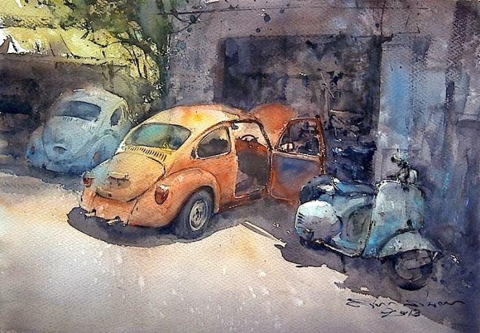 Старые автомобили.  Акварельная живопись. Таиландский художник Дирек Кингнок (Direk Kingnok).