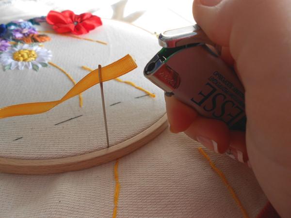 Вышивка атласными лентами: колос