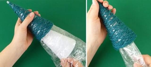 Как сделать елку из ниток своими руками видео