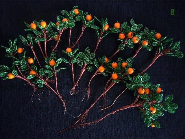 красивое дерево из бисера, как из бисера сплести дерево, апельсиновое дерево из бисера