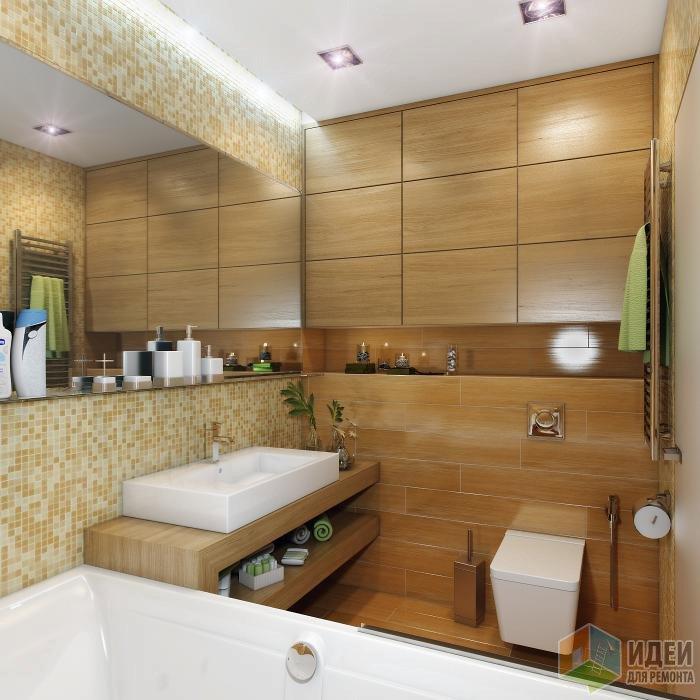 Badezimmer Fliesen Halbhoch: Ванная комната. Дерево и мозаика