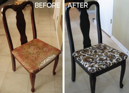Как обновить старые стулья  фото