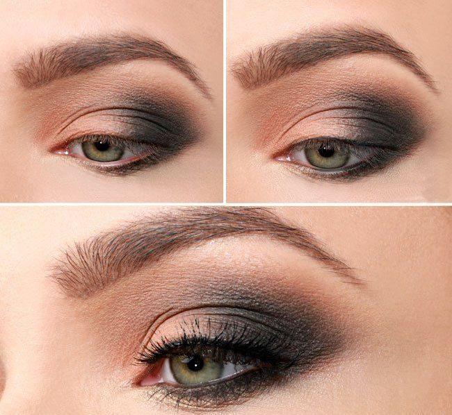Вечерний красивый макияж для зеленых глаз 133