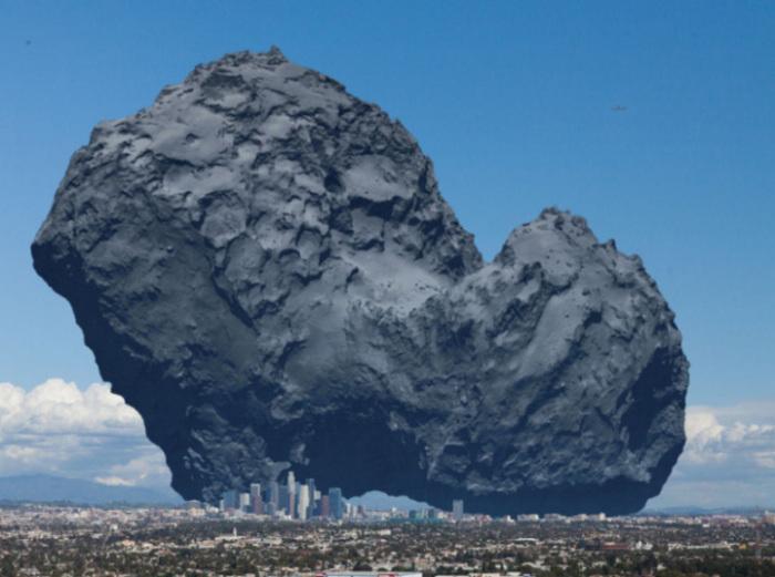 Огромная комета в сравнении с Лос-Анджелесом.