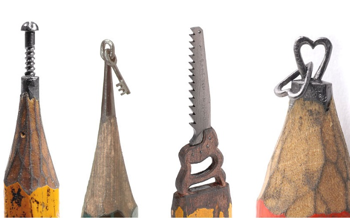 Миниатюрные скульптуры из карандашных грифелей.