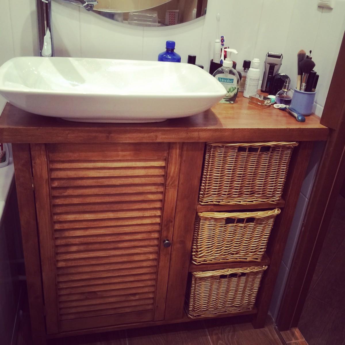 Мебель в ванную своими руками из дерева 600