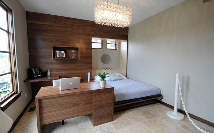 Современная спальня с рабочим местом