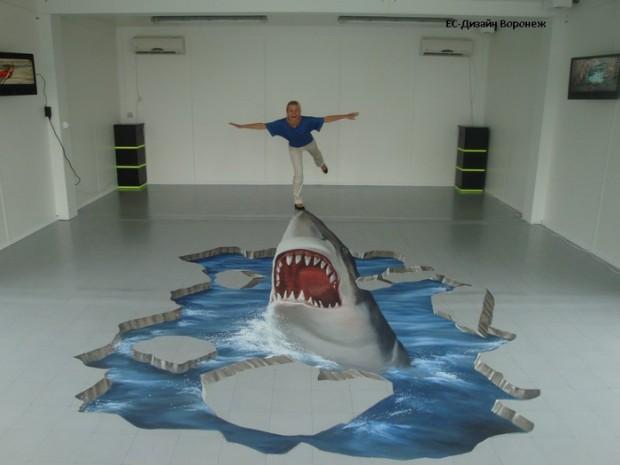 Наливной пол с акулой
