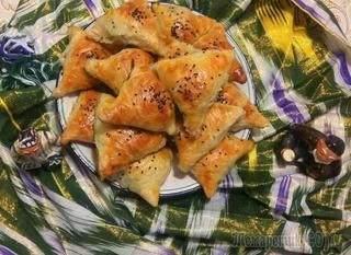 •Слоёная узбекская самса в домашних условиях!!!   Очень вкусно-попробуйте!!!!
