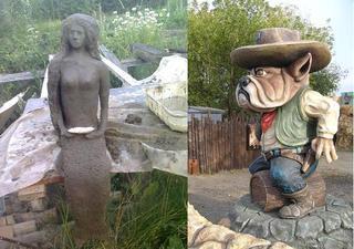 Искусственные камни и скульптуры из бетона на даче и в саду