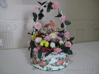 Свадебная корзина с живыми цветами,своими руками.МК.