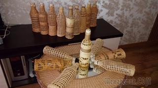 Бутылочки, оплетенные бумажной лазой