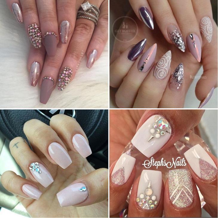 Как красиво расположить стразы на ногтях