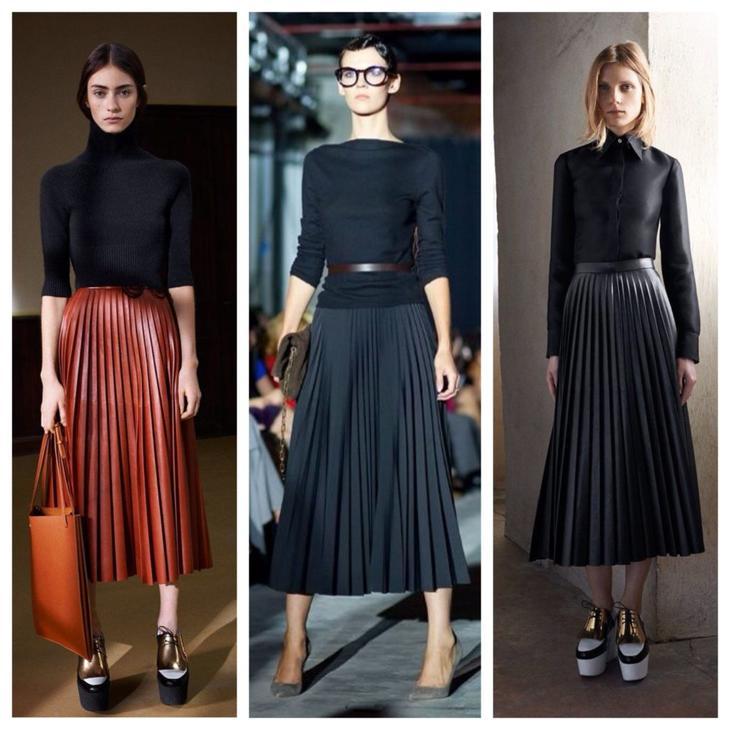 Что одевают с плиссированными юбками