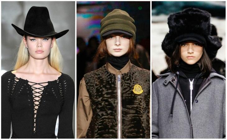 Шапки для удлиненной формы лица из коллекций Осень - Зима 2014 (слева направо Cushnie et Ochs, Moncler Gamme Rouge, Moncler Gamme Rouge)