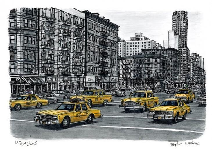 Художник создает по памяти детальные городские пейзажи