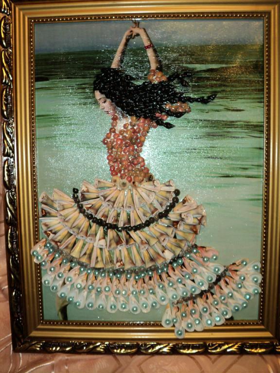 Картина с фото из ракушек своими руками
