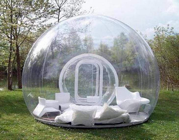 23. Надувная палатка, в которой очень классно находиться во время дождя. интересное, фото